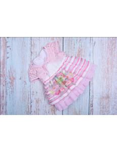 Платье нарядное для малышек с розовым кружевным болеро bebus