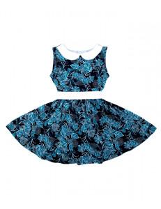 Платье без рукавов с белым пояском бирюзовые листья