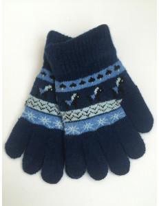 Перчатки осенние синего цвета с изображением пони