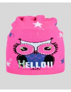 """Шапка демисезонная розового цвета с совой """"HELLO"""""""