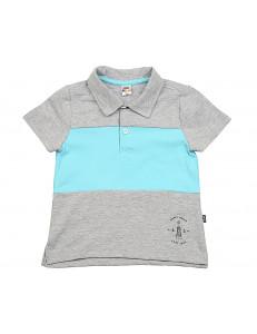 Рубашка-поло для мальчиков серо-бирюзового цвета