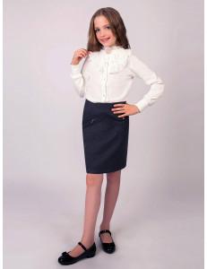 """Блузка для девочек молочного цвета с брошью """"Жемчужина"""""""