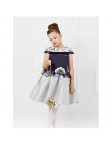 """Платье нарядное сине-серебристого цвета с кружевом """"Алина"""""""